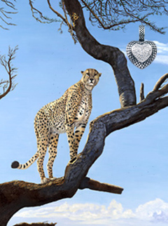 On Guard-Cheetah, fine art print on canvas, with Crosshatched Rhodium Heart Pendant with CZ pave Center