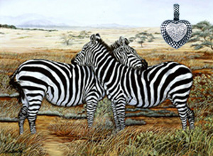 Napping in the Masai Mara-Zebras, fine art print, with Rhodium Heart Pendant with CZ pave Center