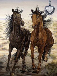 Running Wild-Mustangs, giclee print on canvas,with Rhodium crosshatched Heart with CZ pave Center