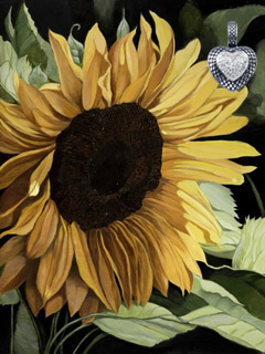 Sunflower, fine art print on canvas, with Rhodium Heart with CZ Pave Center Pendant