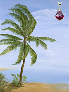Tropical Palm, fine art print, with gold vermeil Pendant with large Blood Red Swarovski Crystal