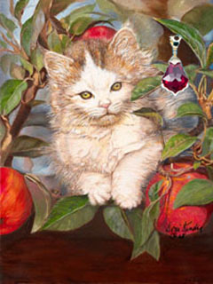 Kitten Up a Tree, giclee print on canvas, with Gold Vermeil Pendant with large red Swarovski Crystal