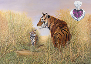 Playtime, Dad-Tigers, fine art print, with Rhodium Heart Pendant with deep pink CZ Center and pave CZ heart shaped bale