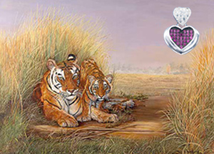Playtime, Mom-Tigers, giclee print on canvas, with Rhodium Heart Pendant, with deep pink CZ Center and pave cz heart shaped Bale