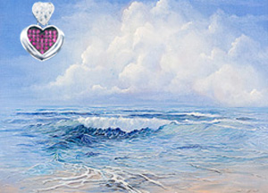Tranquility-Seascape, giclee on canvas, with Rhodium Heart Pendant with deep pink CZ Center and CZ pave heart shaped bale