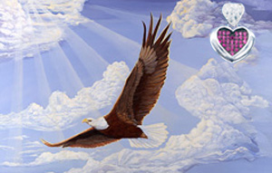 In God We Trust-bald Eagle, fine art canvas print, with Rhodium Heart Pendant with deep pink CZs center and pave CZ heart shaped bale