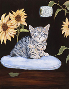 Brand New-Kitty, giclee print on canvas, with Gold Vermeil Barrel Slide Pendant studded with CZs