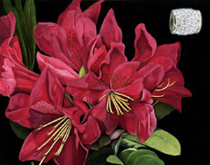 Red Rhododendrun-Flowers, fine art print on canvas, with Gold Vermeil Barrel Slide Pendant studded with Hand Set Cubic Zirconia