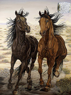 Running Wild-Mustangs, giclee print on canvas, with Gold Vermeil Barrel Slide Pendant studded with CZs
