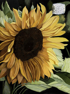 Sunflower-Flowers, fine art print, with Gold Vermeil Barrel Slide Pendant studded with CZs