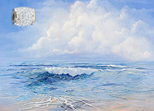 Tranquility-Seascape, giclee print on canvas, with Gold Vermeil Barrel Slide Pendant studded with CZs