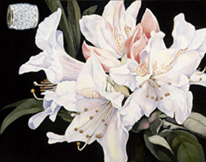 White Rhododendrun-Flowers, fine art print, with Gold Vermeil Barrrel Pendant Studded with CZs