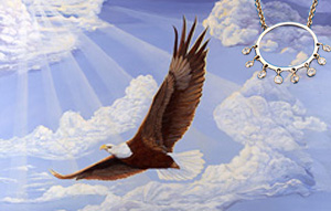 In God We Trust-Bald Eagle, giclee print on canvas, with Gold Ring Pendant with Chain and 8 bezel Set CZs