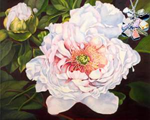 Peony, flower, fine art print with Pendant of cascading polished semi-precious stones with CZ bale
