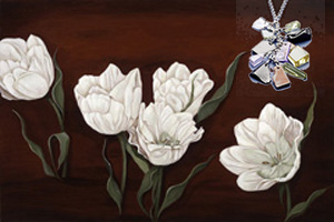 Tulips on burgundy black, giclee print on canvas, with Cascading polished chips of jet, topaz, amethysts, CZ bale