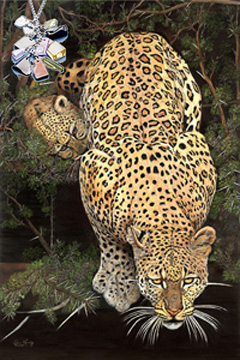 Caution-Baby on Board-Leopards, giclee print on canvas,with Cascading polished semi precious chips, rhodium chain, CZ bale Pendant