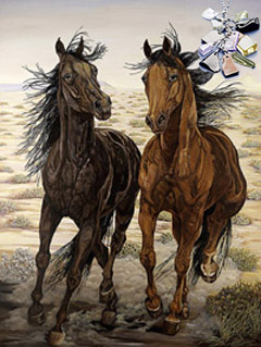 Running Wild-Mustangs, fine art print, with Pendant of cascading polished semi-precious chips, CZ bale