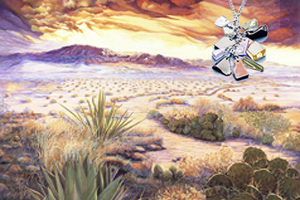 Desert Spectacular-Landscape, fine art print, with Pendant of cascading polished semi-precious stones with CZ bale