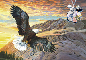 Sunset Cruise-Bald Eagle, fine aart print on canvas, with Pendant of cascading polished chips of semi precious stones with rhodium, CZ bale