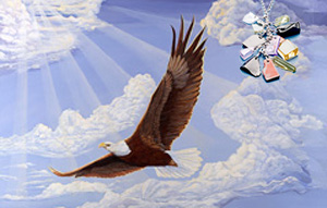 In God We Trust, Bald Eagle, fine art print, with Pendant of cascading polished semi-precious stones with CZ bale