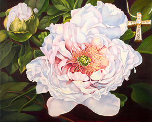 Peony-Flowers Fine Art Print on Canvas with Gold Vermeil Cross-channel set CZs