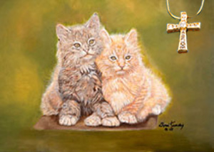 Double Trouble-Kittens Fine Art Print on Canvas with Gold Vermeil Cross-channel set CZs