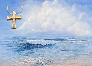 Tranquility--Seascape Fine Art Print on Canvas with Gold Vermeil Cross-channel set CZs