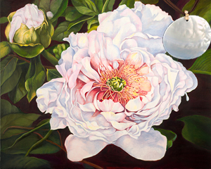 Peony-Flower Fine Art Print on Canvas with Large Mother of Pearl Disc Pendant