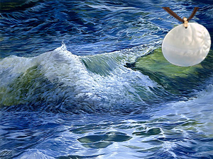 Midocean Reflections-Seascape Fine Art Print on Canvas with Large Mother of Pearl Disc Pendant