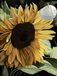 Sunflower-Flower Fine Art Print on Canvas with Large Mother of Pearl Disc Pendant