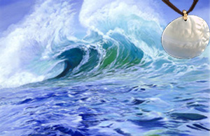 Surfer's Dream-Seascape Fine Art Print on Canvas with Large Mother of Pearl Disc Pendant