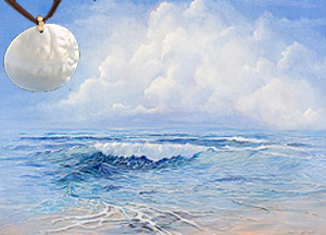 Tranquility-Seascape Fine Art Print on Canvas with Large Mother of Pearl Disc Pendant