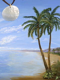 Tropical Palm-II Fine Art Print on Canvas with Large Mother of Pearl Disc Pendant