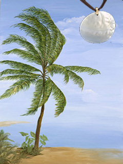 Tropical Palm Fine Art Print on Canvas with Large Mother of Pearl Disc Pendant