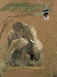 Mother Africa-Elephant Fine Art Print on Canvas with Triple metallic disc pendant