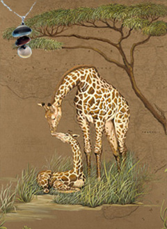 Mother Africa-Giraffes Fine Art Print on Canvas with Triple metallic disc pendant