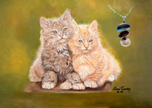 Double Trouble-Kittens Fine Art Print on Canvas with Triple metallic disc pendant