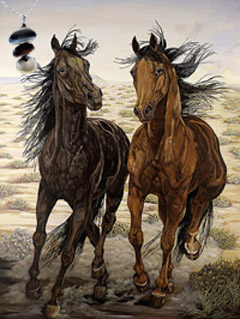 Running Wild-Mustangs Fine Art Print on Canvas with Triple metallic disc pendant