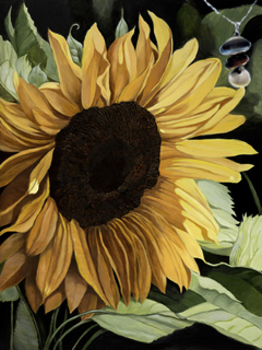 Sunflower-Flower Fine Art Print on Canvas with Triple metallic disc pendant