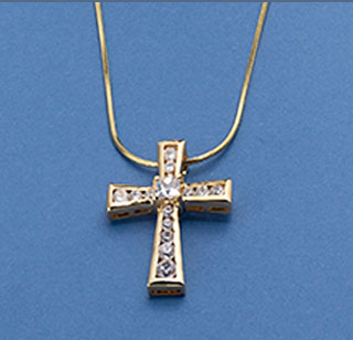 Gold Cross with channel set CZs