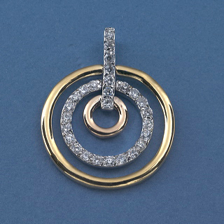 Gold  and CZ Eternity circles pendant