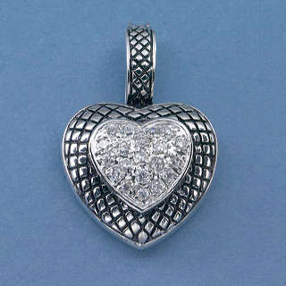 Rhidium Heart with CZ center, black etched cross hatching