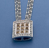 Multi Bead Chains with gold CZ Square Pendant