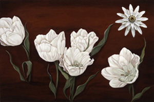 Tulips on Burgundy Black Fine Art Print on Canvas with White Porcelain Enamel Chrysanthemum Pin/pendant
