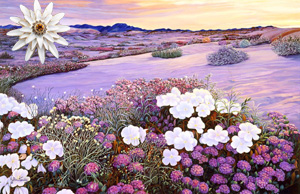 That Magic Hour-Landscape Fine Art Print on Canvas with White Porcelain Enamel Chrysanthemum Pin/pendant