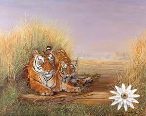 Playtime With Mom-Tigers Fine Art Print on Canvas with White Porcelain Enamel Chrysanthemum Pin/pendant