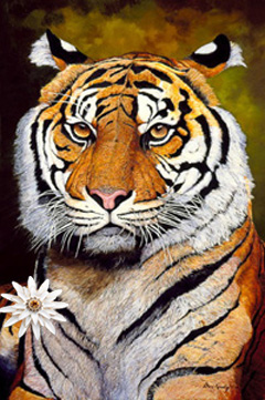 The Sultan-Sumatran Tiger Fine Art Print on Canvas with White Porcelain Enamel Chrysanthemum Pin/pendant