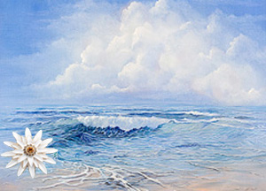 Tranquility-Seascape Fine Art Print on Canvas with White Porcelain Enamel Chrysanthemum Pin/pendant